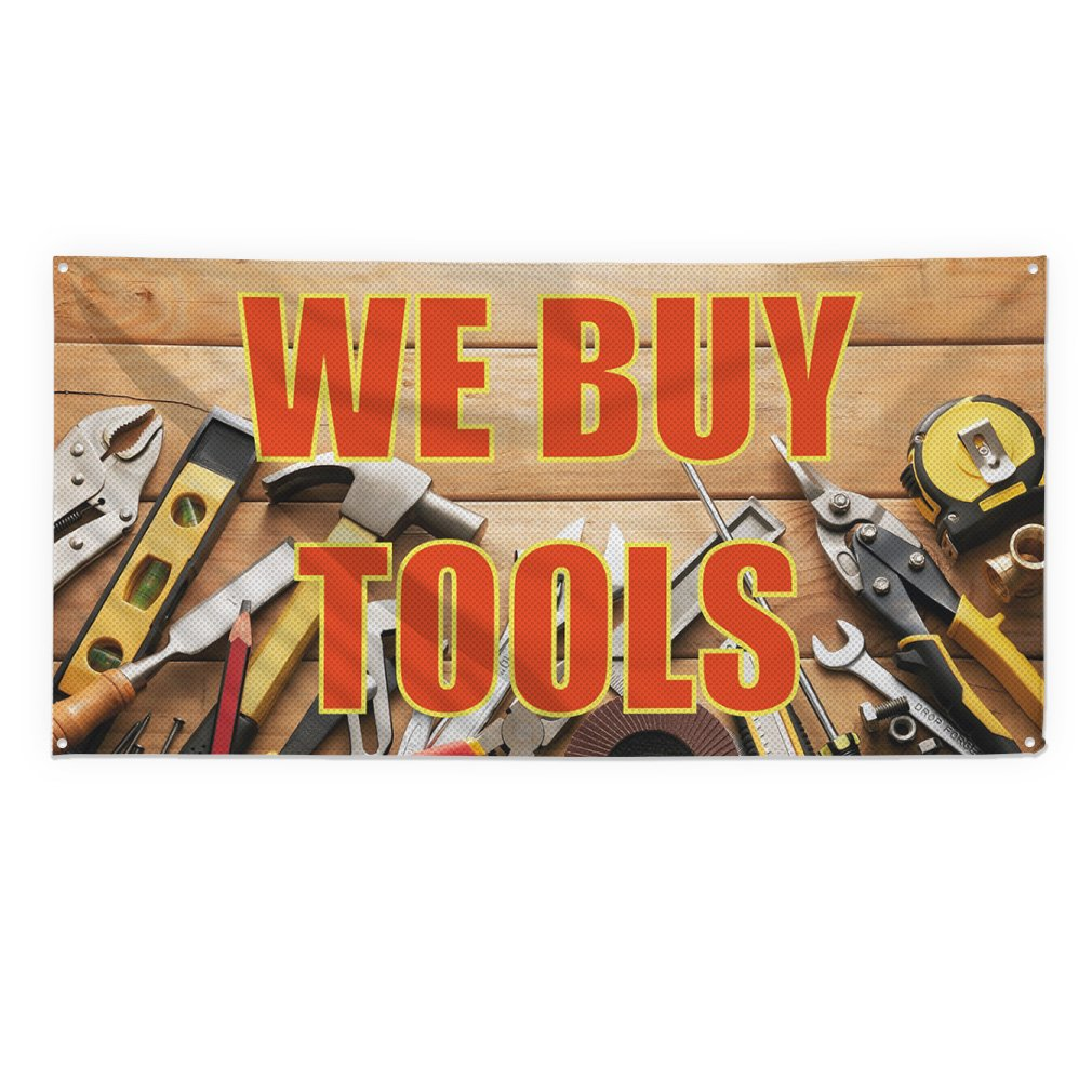 We Buy Tools #1 Outdoor Fence Sign Vinyl Windproof Mesh Banner With Grommets - 3ftx6ft, 6 Grommets