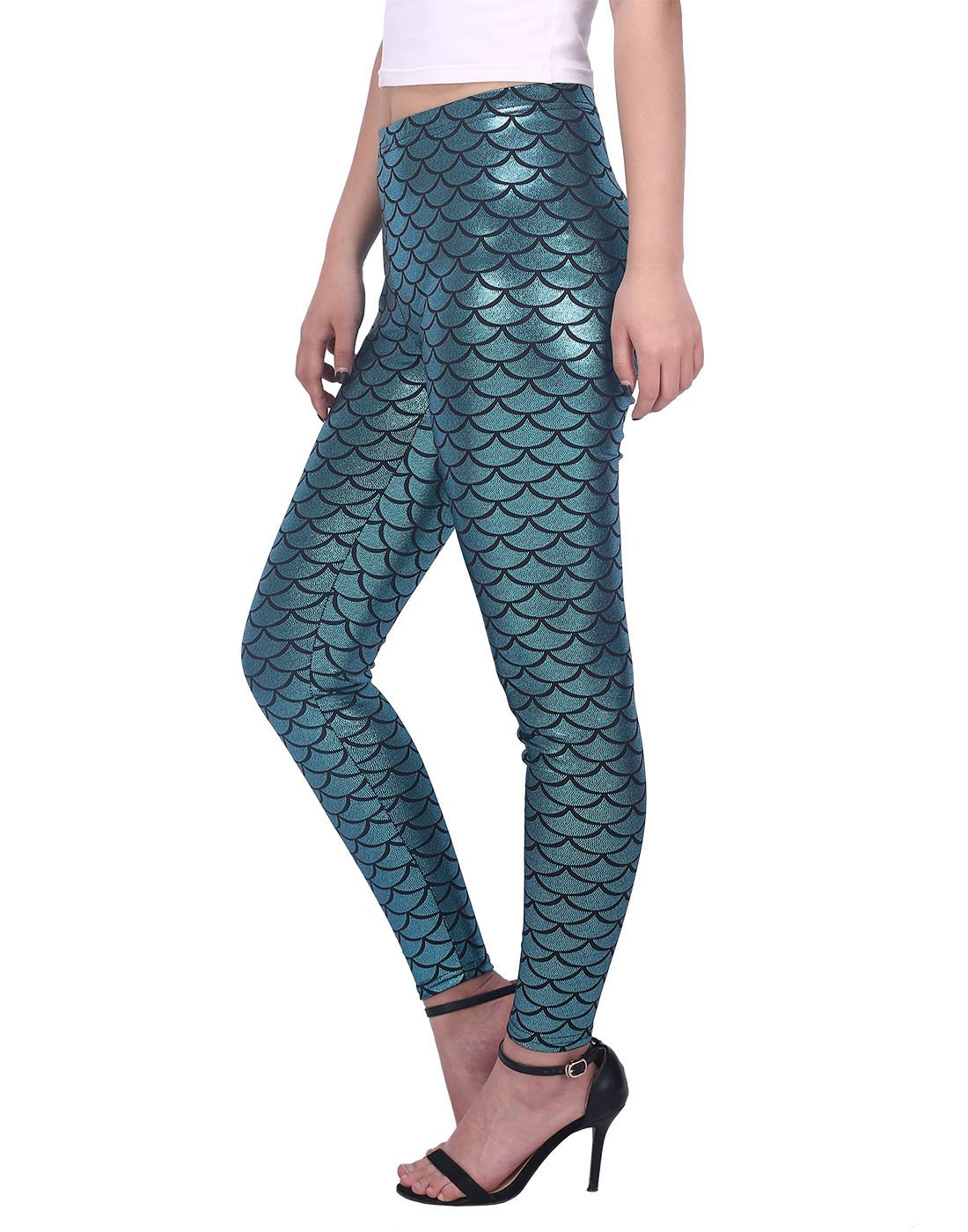 HDE Womens Shiny Leggings Mermaid Metallic Glitter Fish Scale Stretch Pants S-XL (Teal, X-Large)