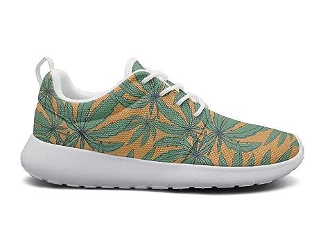 low priced da9c5 cb9d8 rttyl et67u67 Custom Sneaker Mens Fashion Green Marijuana Leaves Cannabis  Bloom Jogger Running Shoes