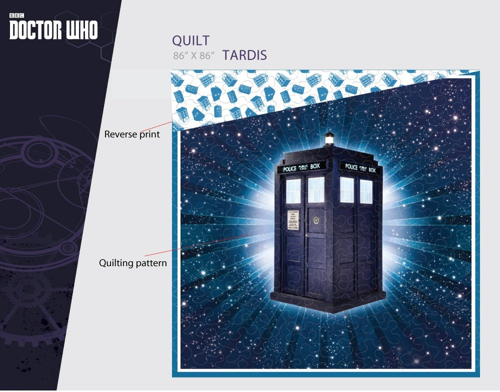 Doctor Who Officially Licensed Tardis Full / Queen Size Reversible Bed Quilt 86'' x 86''
