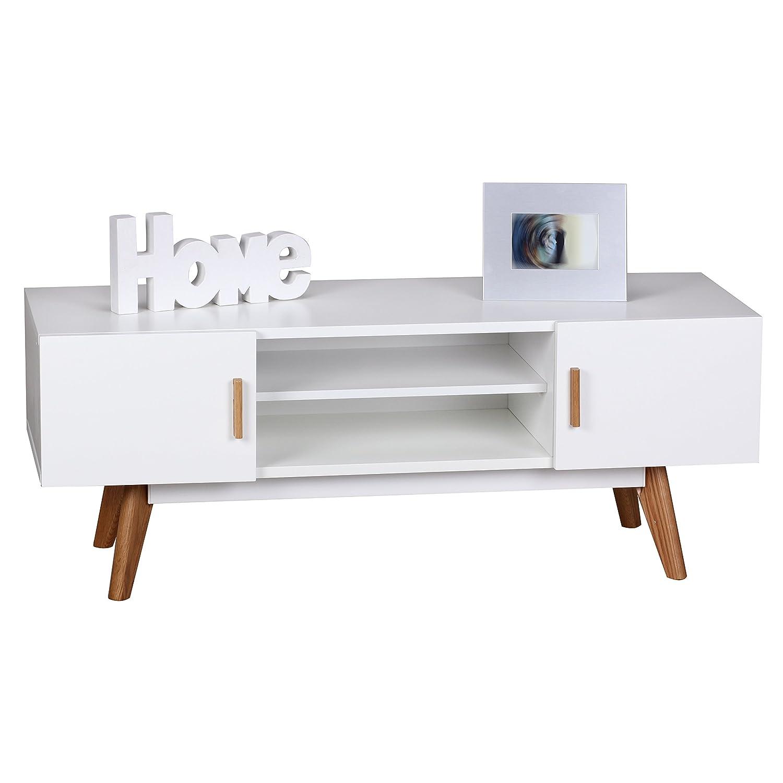 Tv board weiß eiche  Wohnling Retro TV Lowboard SCANIO 120 cm MDF-Holz Landhaus 2 Türen ...