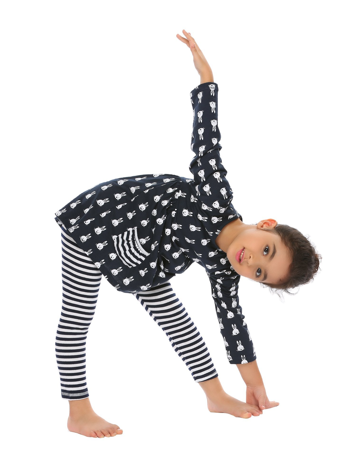 Arshiner Little Girls Long Sleeve Cute Rabbit Print with Pockets Cotton Outfit 12 pcs Pants Sets Top+Legging,Navy Blue,130(7-8years old) by Arshiner (Image #3)