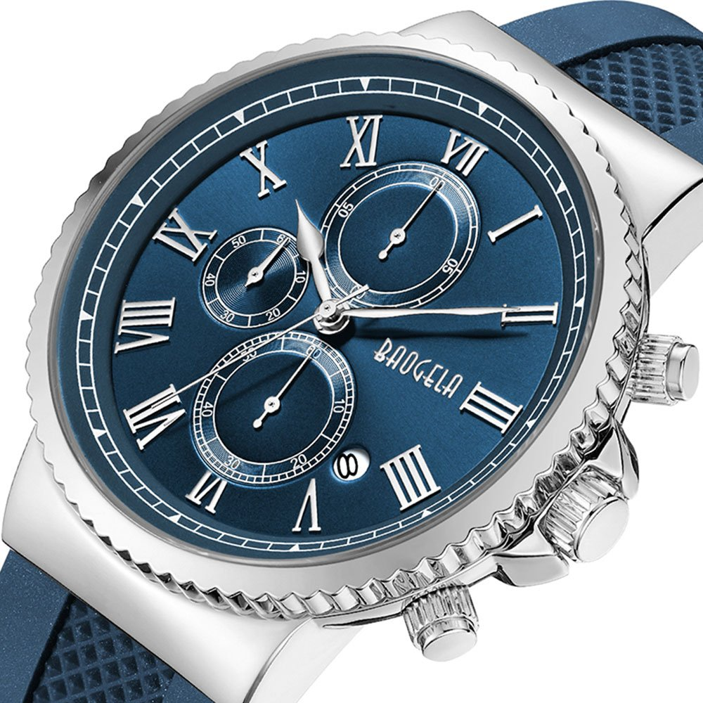 Men's Stainless Steel Casual Navy Blue Silicone Watch with Chronograph and Waterproof