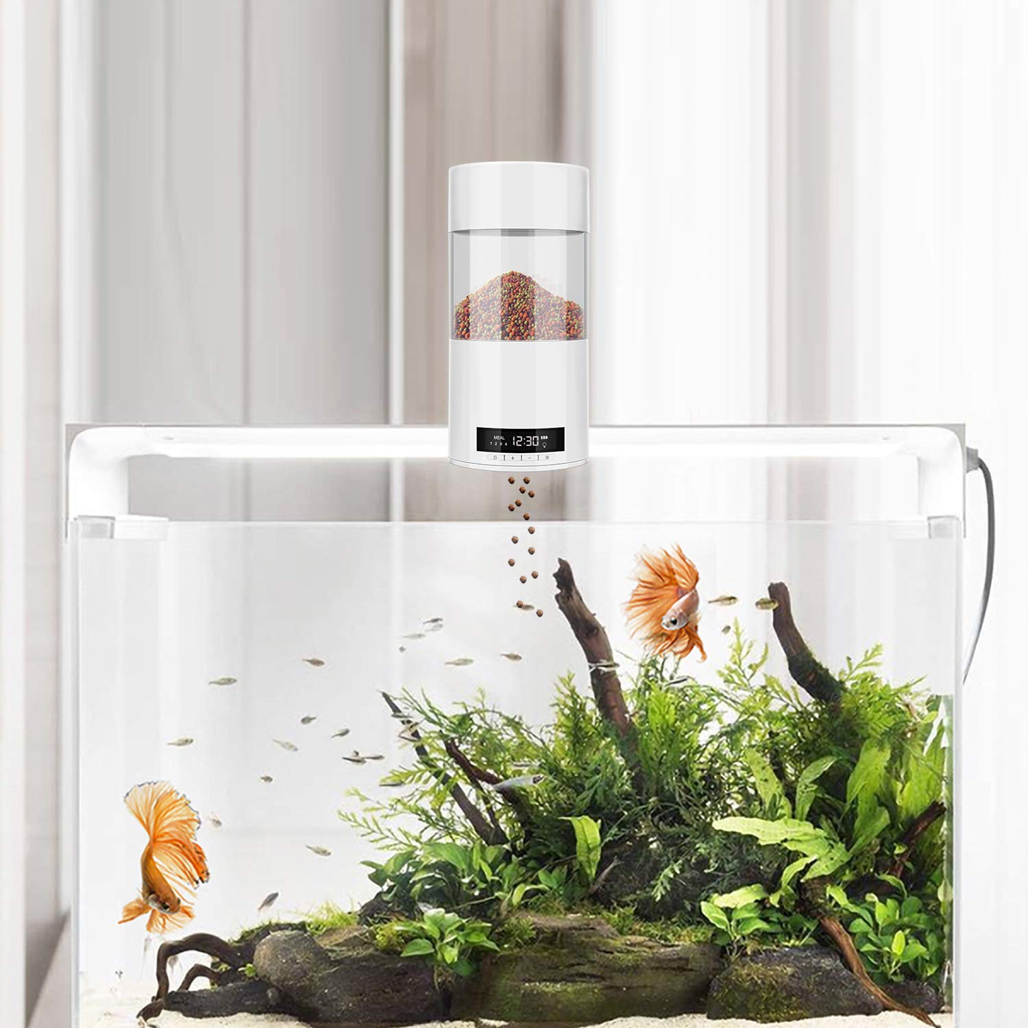 ADSRO Automatic Fish Feeder, Fish Food Dispenser Digital Feeding Unit for Aquarium Fish Tank Battery-Operated Automatic Turtle Small Fish, Tropical Fish, Gold Fish