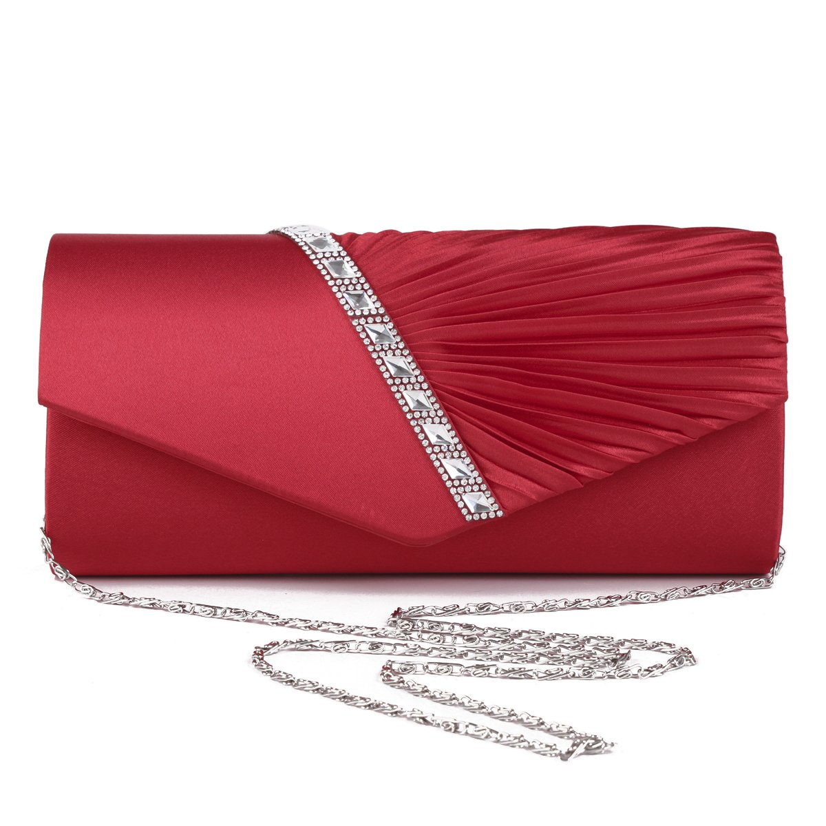 24cd4691a2f6 Damara Womens Pleated Crystal-Studded Satin Handbag Evening Clutch