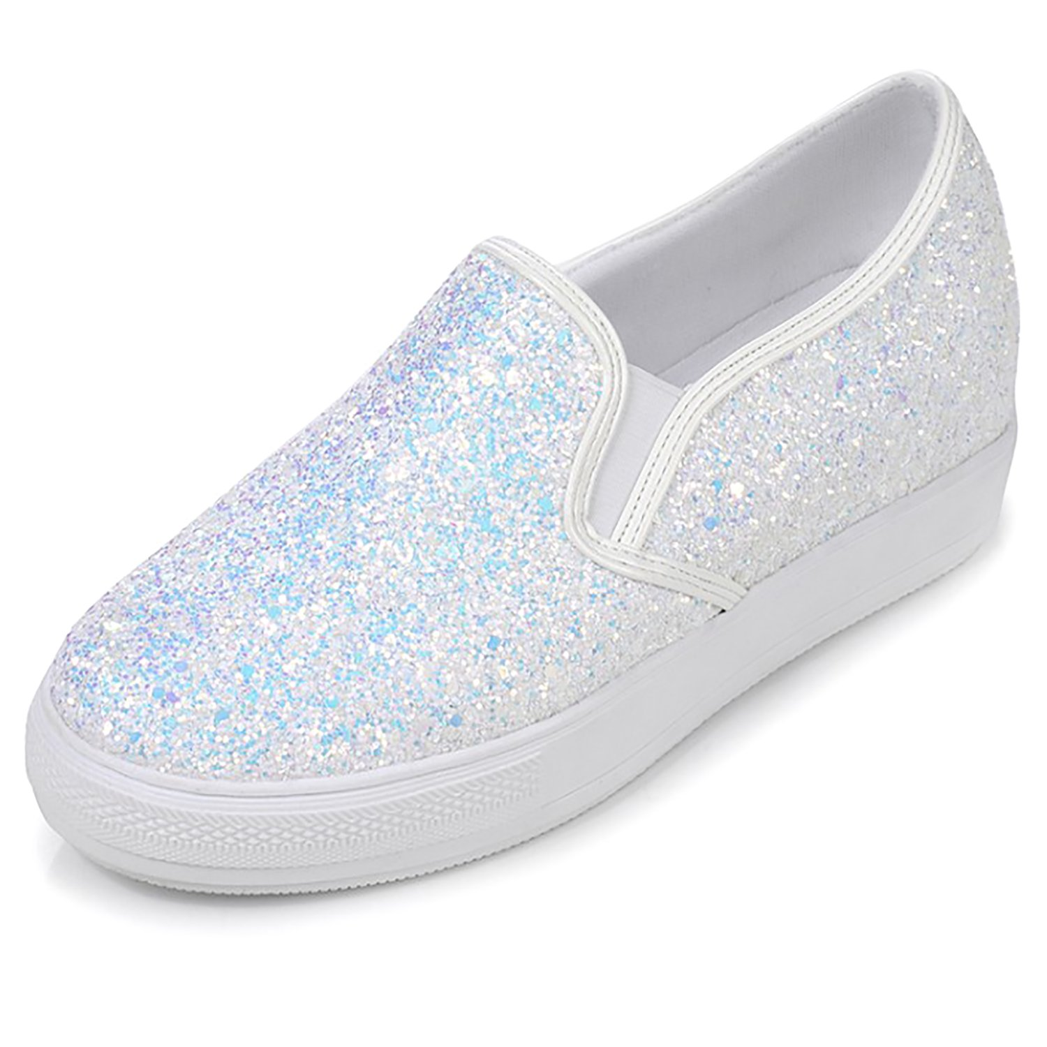 Odema Womens Glitter Sparkly Sequin Platform Sneakers Slip on Shoes Loafers