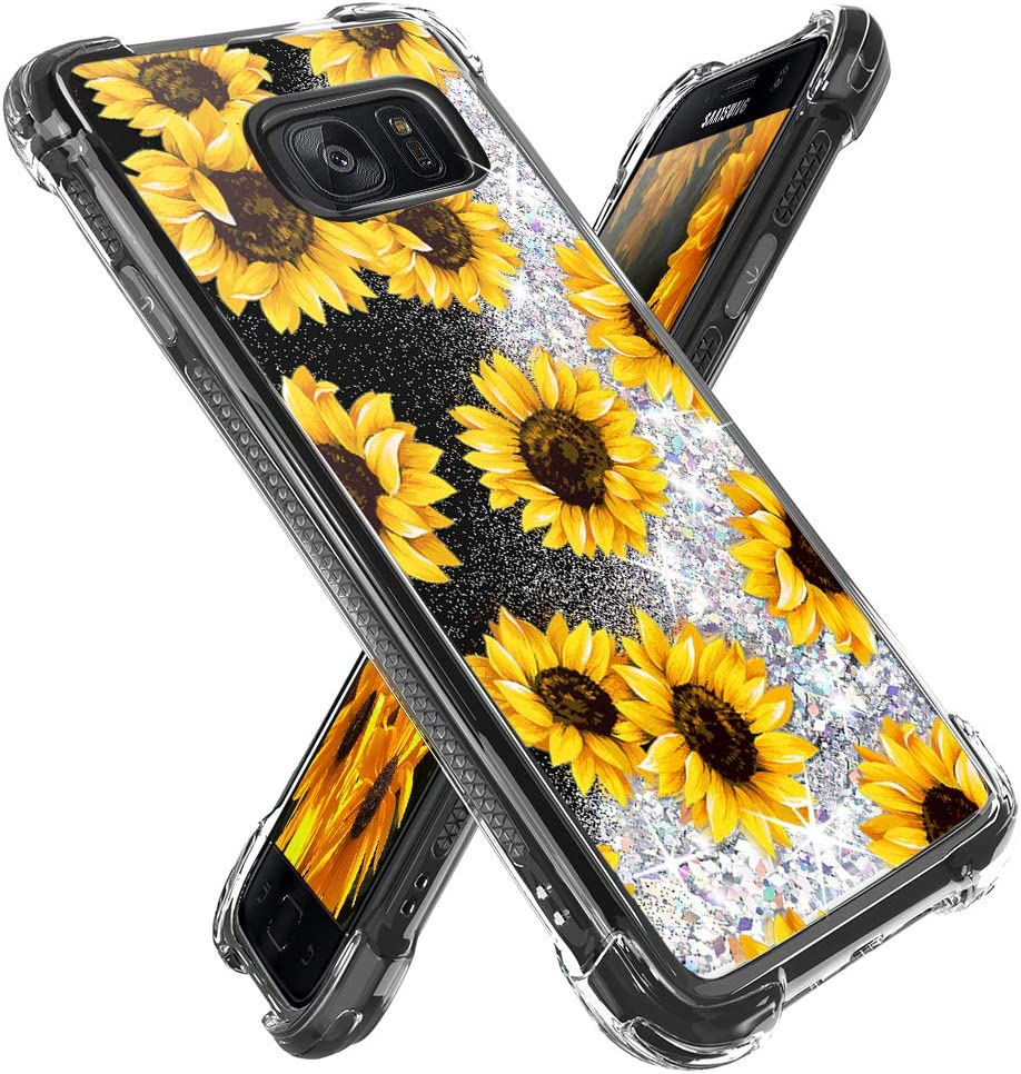 Miss Arts for Galaxy S7 Edge Case,Girls Women Flowing Liquid Holographic Holo Glitter Shock Proof Case with Floral Design Reinforced Shockproof Protective Cover for Samsung Galaxy S7 Edge -Sunflower