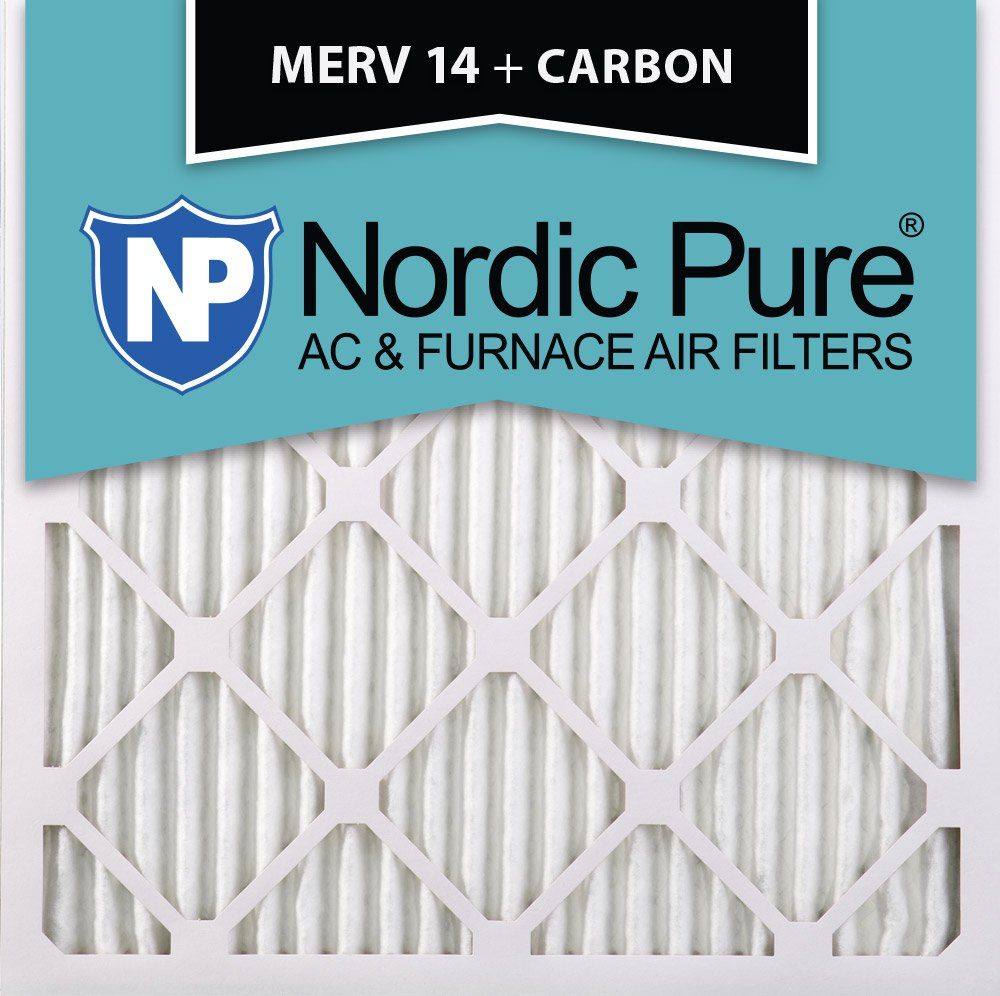 Nordic Pure 18x18x1 MERV 14 Plus Carbon Pleated AC Furnace Air Filters 12 Pack