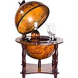 36006 - Carrito de bar auténtico, con columnas de madera de eucalipto, abierto, 71 cm de alto y 44 cm de ancho, globo terráqueo antiguo, mesa de bar, bar doméstico