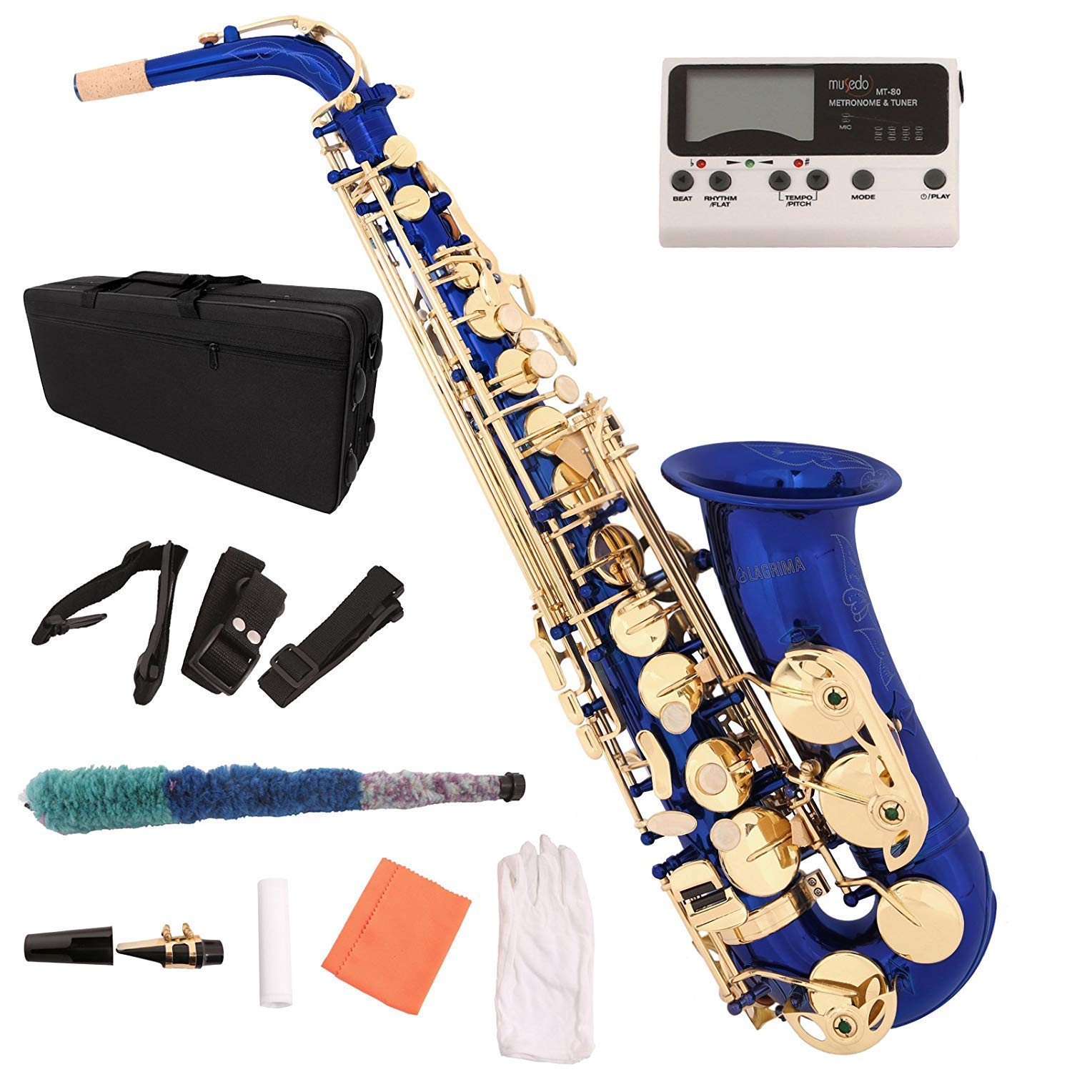 LAGRIMA Professional E Flat Alto Saxophone with Tuner, Case, Mouthpiece, Cleaning Cloth Rod, Glove, Neck Strap for Beginners Adult (Blue)