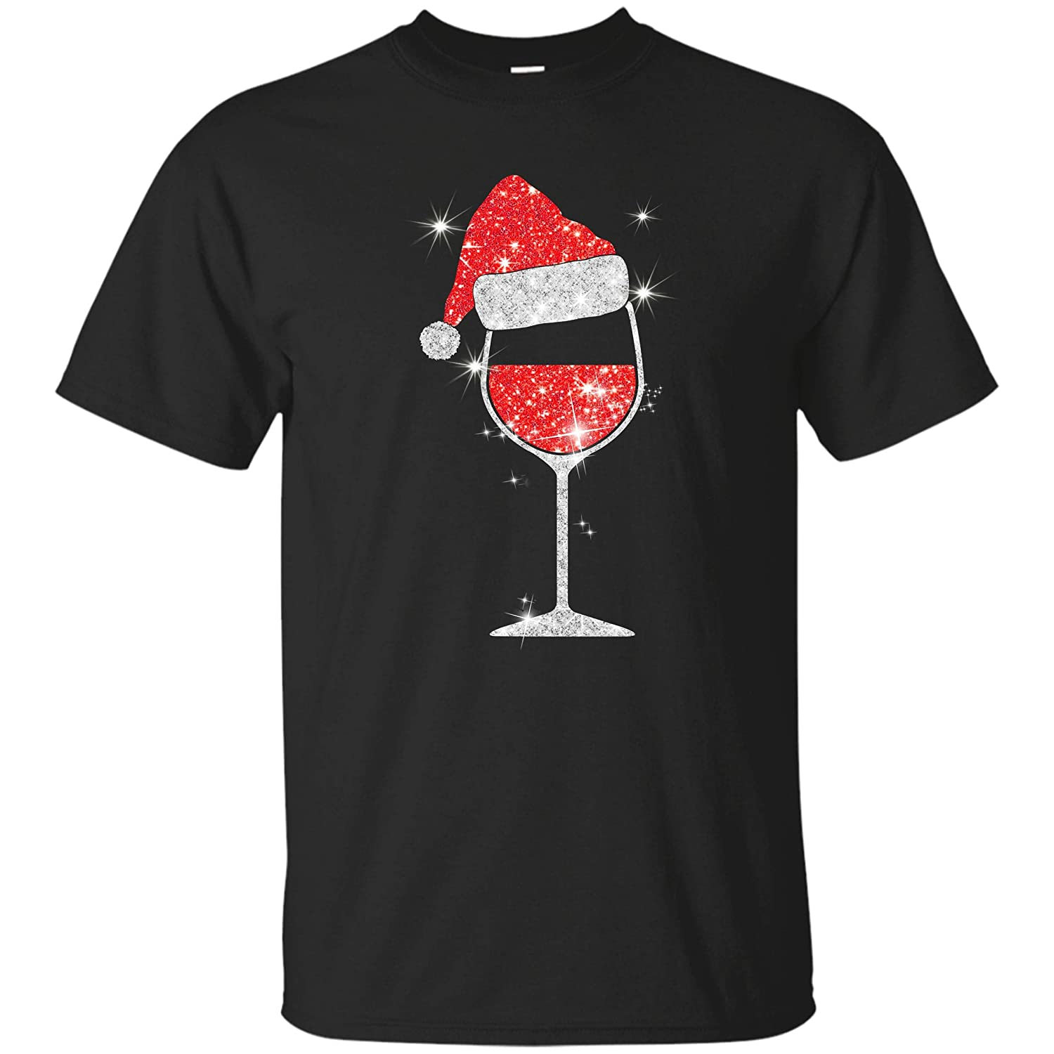 Moctee Xmas T-Shirt Wine Christmas Sparkling Glass Cute Men Women Tshirt CA-181101-DY.MOC.HT.MTS-131