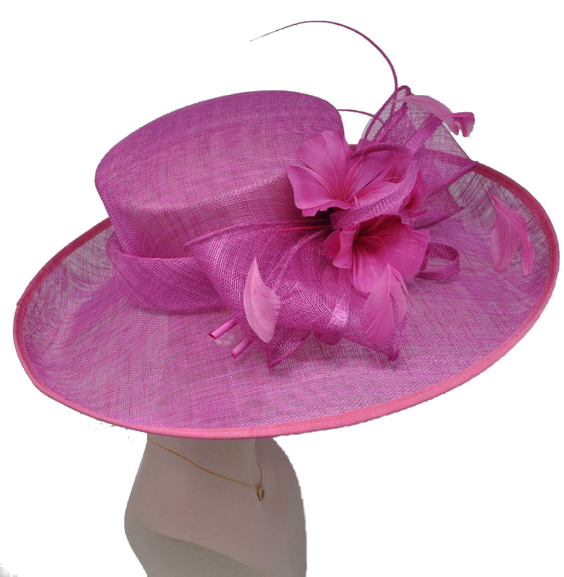 Church Kentucky Derby Carriage Tea Party Wedding Wide Brim Woman's Royal Ascot Hat in Solid Sinamay Hat Hot Pink/Fuschia