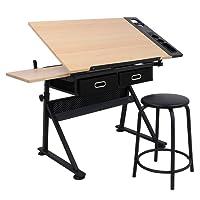 DISPLAY4TOP inclinabile da tavolo da tavolo redazione disegno scrivania regolabile in altezza W/sgabello e due cassetti per disegno, lavori artistici, naturalmente, architetti/ingegneria, pittura e vari usi di Mestiere