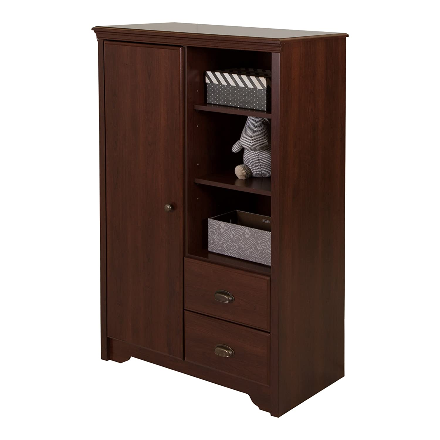 South Shore Fundy Tide Armoire with Drawers, Royal Cherry 9022038