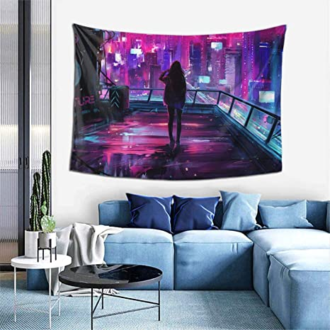 Amazon Com Touhou Cyberpunk City Sci Fi Wall Art Hanging Decor Tapestry 60x40 Inch Home Kitchen