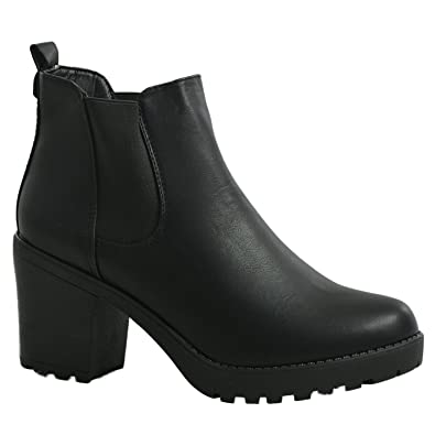 a65c8f3bc6c6 NEW WOMENS LADIES CHUNKY BLOCK HEEL GRIP SOLE CHELSEA ANKLE BOOTS SHOES  SIZE 3 4 5