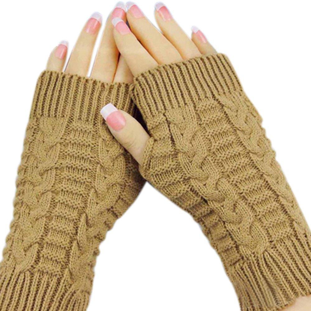 Bluelans® Strick Armstulpen Pulswärmer fingerlos Handschuhe Damenhandschuhe Winterhandschuhe Fäustlinge Fausthandschuhe Camel One Size