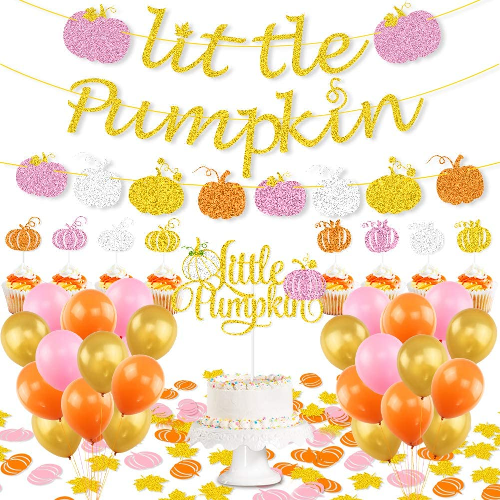 K KUMEED Little Pumpkin Party Decorations, Little Pumpkin Banner Cake Topper Little Pumpkin Maple Leaf Confetti Latex Balloons for Thanksgiving Baby Shower Birthday Party Decorations