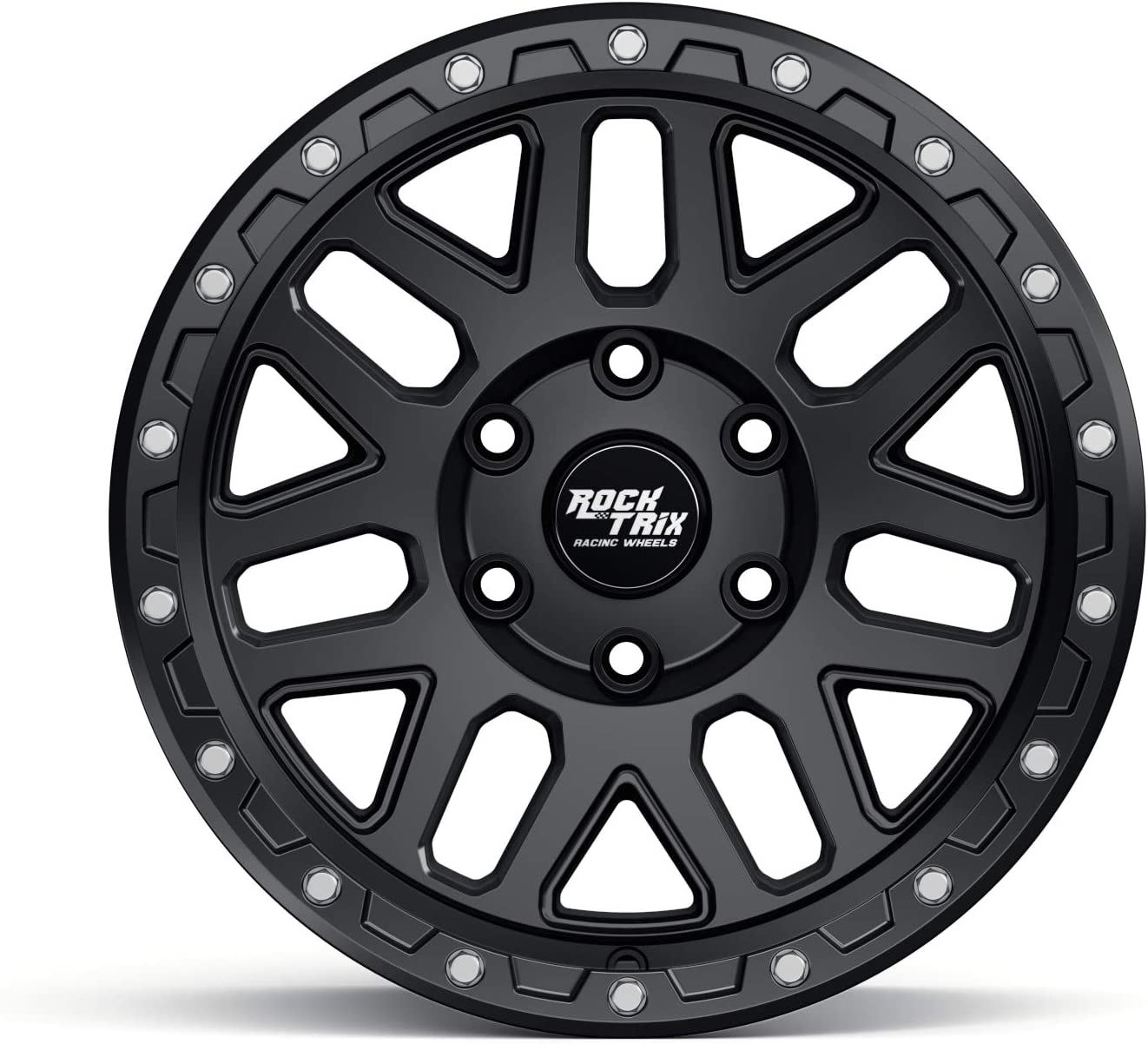 17x9 RockTrix RT110 17 inch Wheel Compatible with 2009-2020 Ford F150 1pc 6x135 Bolt Pattern Matte Black All trims including Raptor -12mm Offset 87.1mm Bore