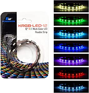 Kingwin RGB LED Strip Lights, LED Light Strip For Computer Case, PC, Laptop, Home, Office, and Background Lighting. Ultra Bright 5050 SMD Strip Lights, 12 Inches [Asus Aura RGB Compatible]