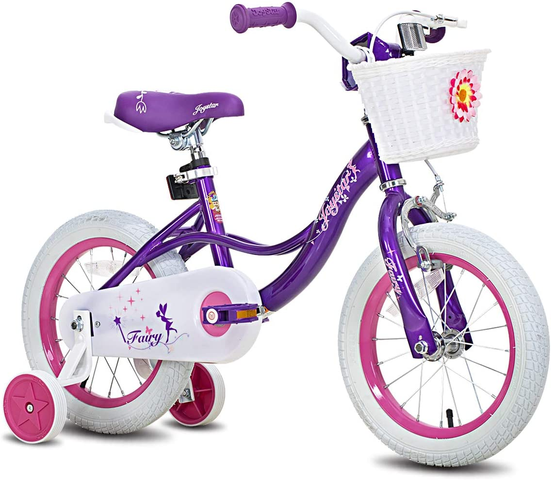 "JOYSTAR Fairy 12"" 14"" 16"" 18"" Inch Kids Bike with Basket & Training Wheels for 2-9 Years Old Girls (Corel & Pink, Purple)"