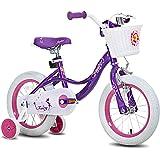 "JOYSTAR Fairy 12"" 14"" 16"" 18"" Inch Kids Bike with Training Wheels for 2-9 Years Old Girls (Corel & Pink, Purple)"
