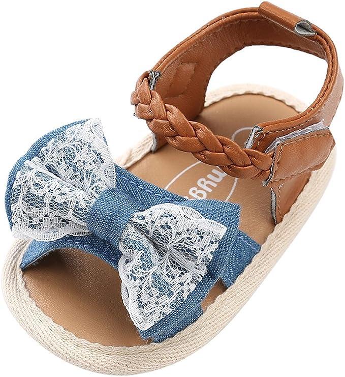 Sandalias niñas Xinantime Zapatos bebés de Verano para niñas Chica Sandalias con cinturón Tejido bebé Sneaker Zapatillas Planas Bowknot Zapatos