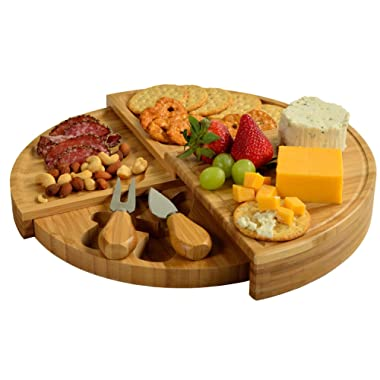 Picnic at Ascot Patented Bamboo Cheese Board/Charcuterie Serving Platter - Stores as a Compact Wedge- Opens to 13  Diameter - Designed & Quality Checked in USA