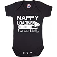 BritTot Funny Boys or Girls Babygrow 'Nappy Loading Please Wait' Vest Baby Clothes Black