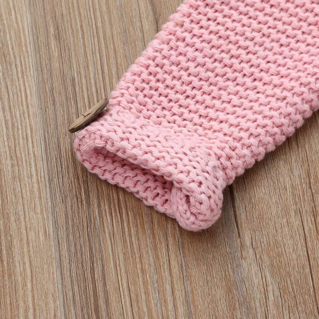 WARMSHOP Baby Girls Pink Color Button Woolen Knitted Long Sleeve Cardigan Coat Tops