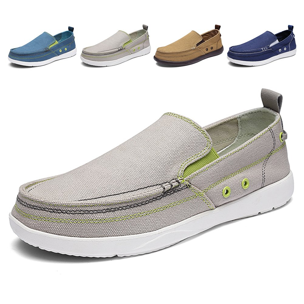 Men's Slip on Deck Shoes Loafers Canvas Boat Shoe Non Slip Casual Loafer Flat Outdoor Sneakers Walking (Light Grey,44)