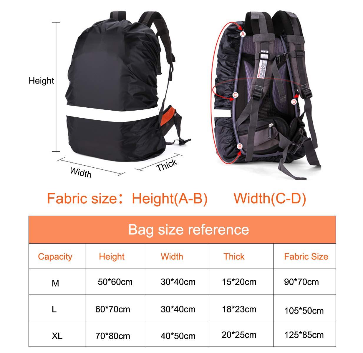 2er-Rucksack-Regenschutz Bringen Sie den Rucksack zum Schutz vor Staub Schlamm und Regen Ytesky Wasserdichter Nylon-Rucksack-Regenschutz mit reflektierendem Sicherheitsstreifen Schnee