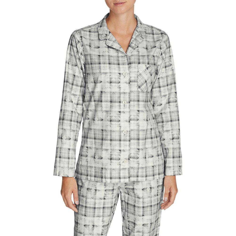 Eddie Bauer Women's Stine's Favorite Flannel Sleep Shirt, Frost Gray Petite L