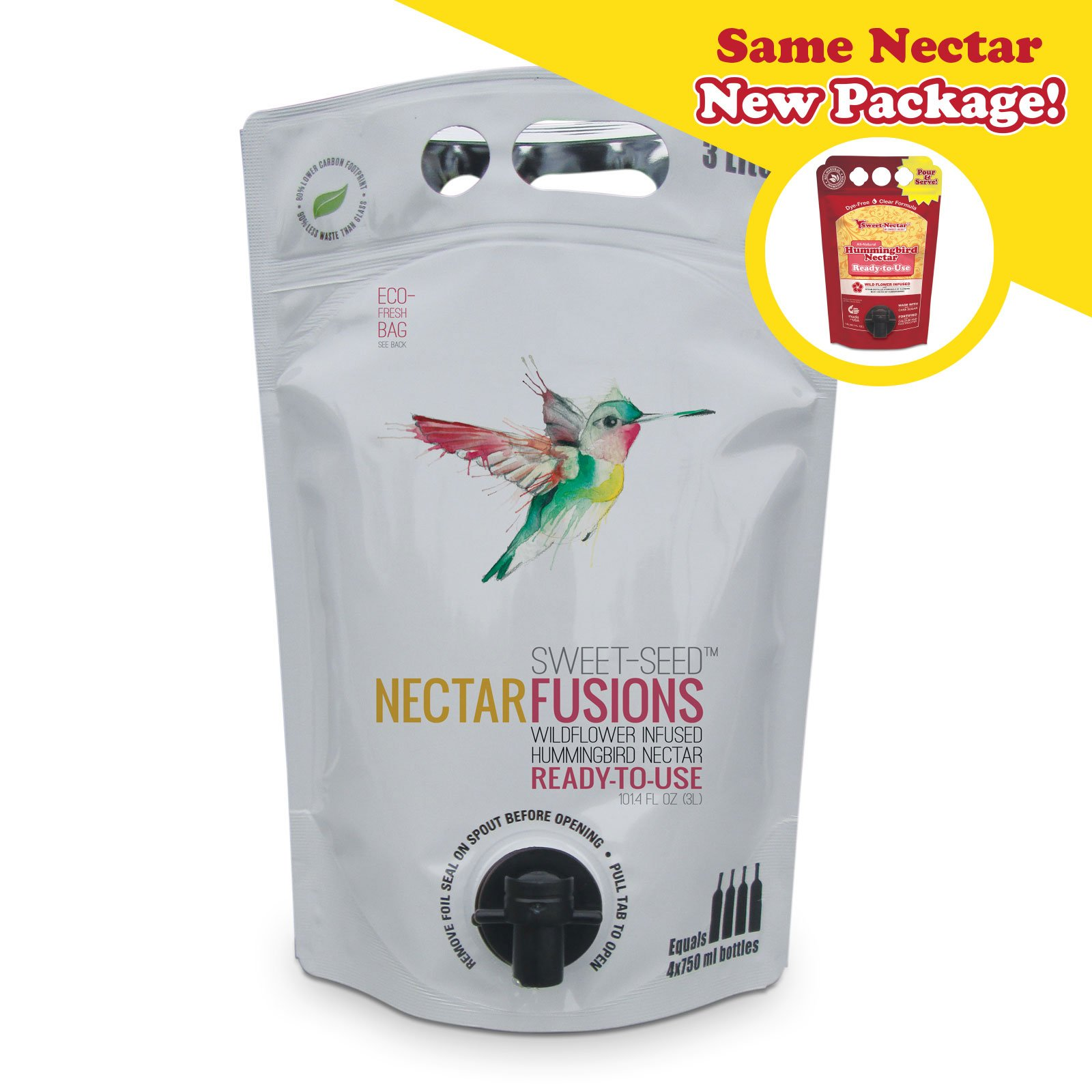 Sweet-Seed, LLC Nectar Fusions Hummingbird Food: All-natural & Dye Free, Wildflower Infused Hummingbird Nectar (100 oz. Ready-to-use Formula)