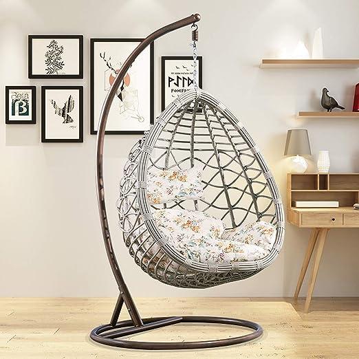 HOIHO - Silla colgante de ratán con forma de huevo para exteriores, hamaca colgante con cojín para interior/exterior, silla de balcón, carga 200 kg: Amazon.es: Jardín