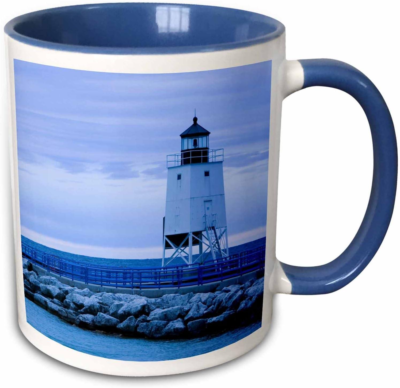 3dRose, Lake Michigan, Charlevoix Lighthouse-US23 WBI0323-Walter Bibikow Two Tone Mug, 11 oz, Blue/White