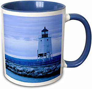 3dRose, Lake Michigan, Charlevoix Lighthouse-US23 WBI0323-Walter Bibikow Two Tone Mug, 11 oz, Blue/White