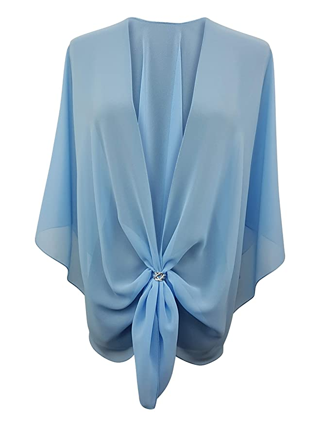 1920s Shawls, Scarves and Evening Jacket Tips eXcaped Womens Evening Shawl Wrap Sheer Chiffon Cape and Silver Scarf Ring Set $39.95 AT vintagedancer.com