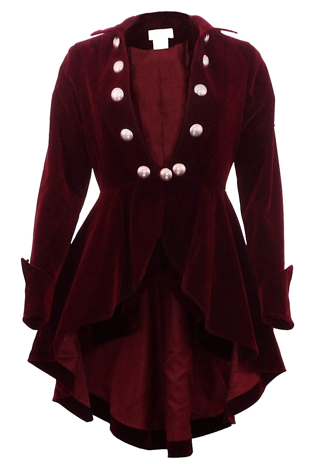 (XS-28) Velvet Wine Waterfall - PRIME - Maroon Red Gothic Ruffle Victorian Style Coat Jacket (Large, Red)
