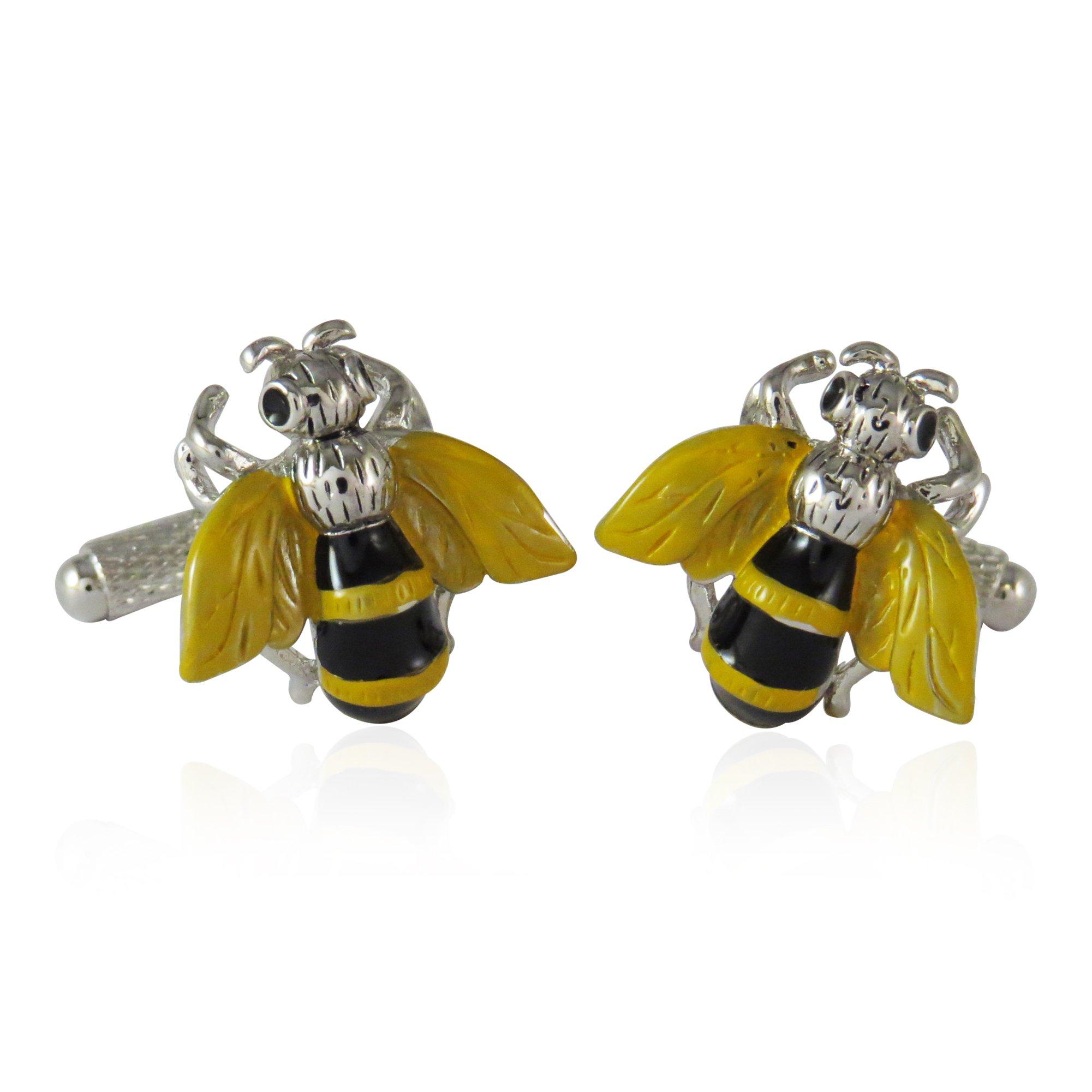 Yellow Jacket Bee Cufflinks By Jewelry Mountain
