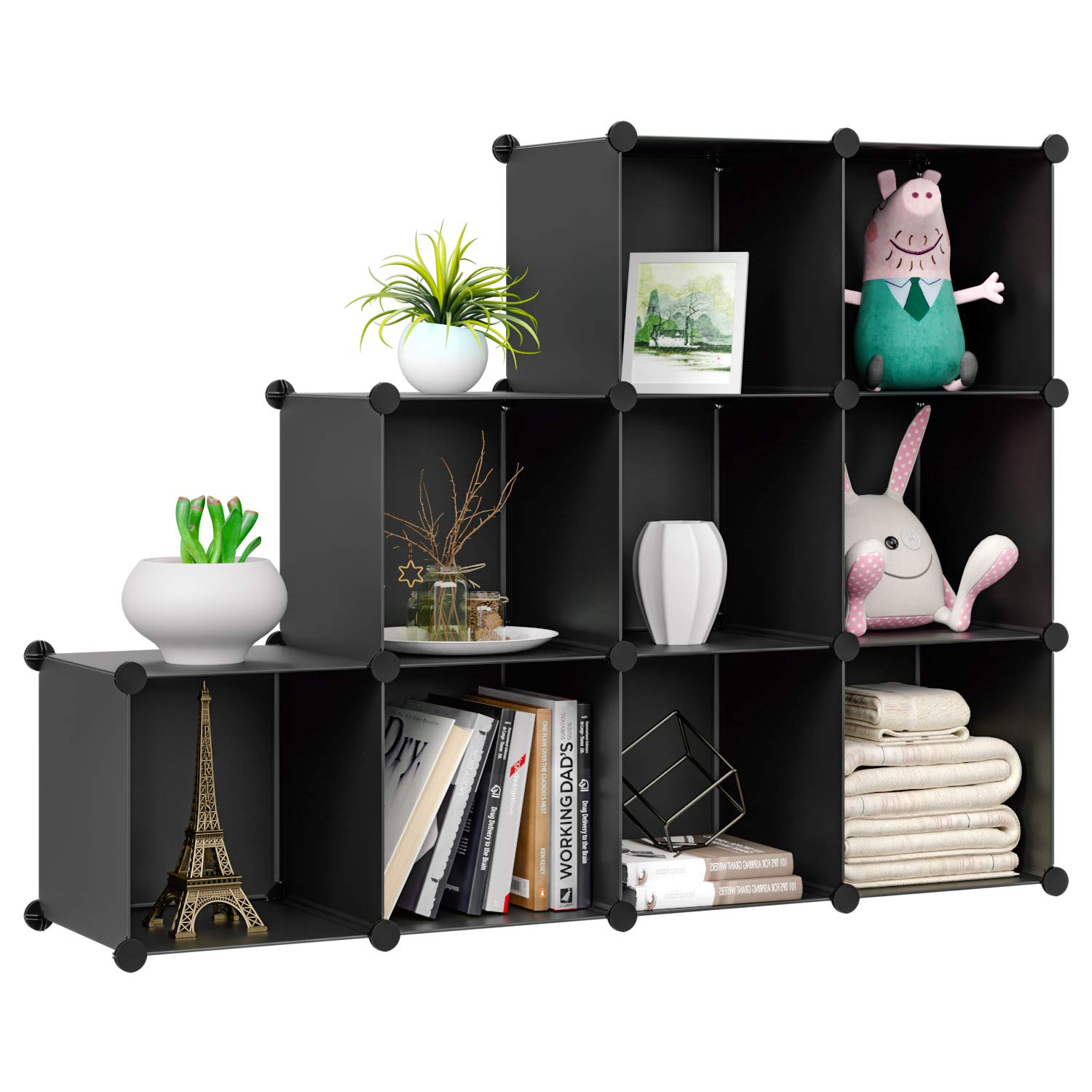 HOMFA Cube Storage Organizer, Shoe Rack, 9 Cubes DIY Plastic Modular Closet Cabinet Storage Organizer, Living Room Office Bookcases Shelves for Books, Cloths, Toys, Shoes, Arts, Black by Homfa