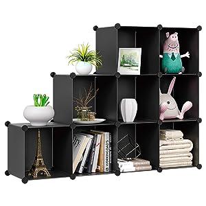 HOMFA Cube Storage Organizer, Shoe Rack, 9 Cubes DIY Plastic Modular Closet Cabinet Storage Organizer, Living Room Office Bookcases Shelves for Books, Cloths, Toys, Shoes, Arts, Black