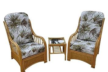 Mueble de caña y mimbre modelo Sorrento para invernadero o sala de estar - Duo Set - 2 sillas y una mesa auxiliar - Tela con diseño de palmas: Amazon.es: ...