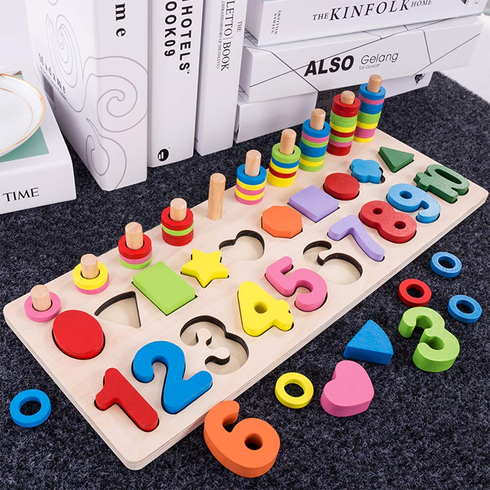 Fishing Toy & Number Puzzle Board Set, 1-10 Wood Blocks ...
