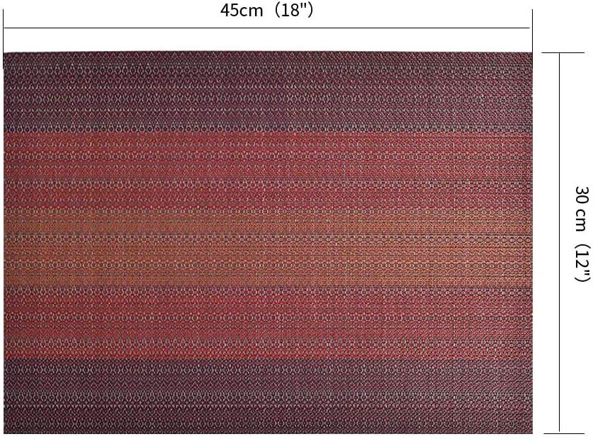 Lot de 6 Sets de Table PVC Tress/é Antid/érapant Rectangulaire Grand Placemat 45 x 30cm R/ésiste Chaleur Restaurant Impermeable Tapis de Table pour Cuisine Lavable Ecologique Exterieur(Rouge)