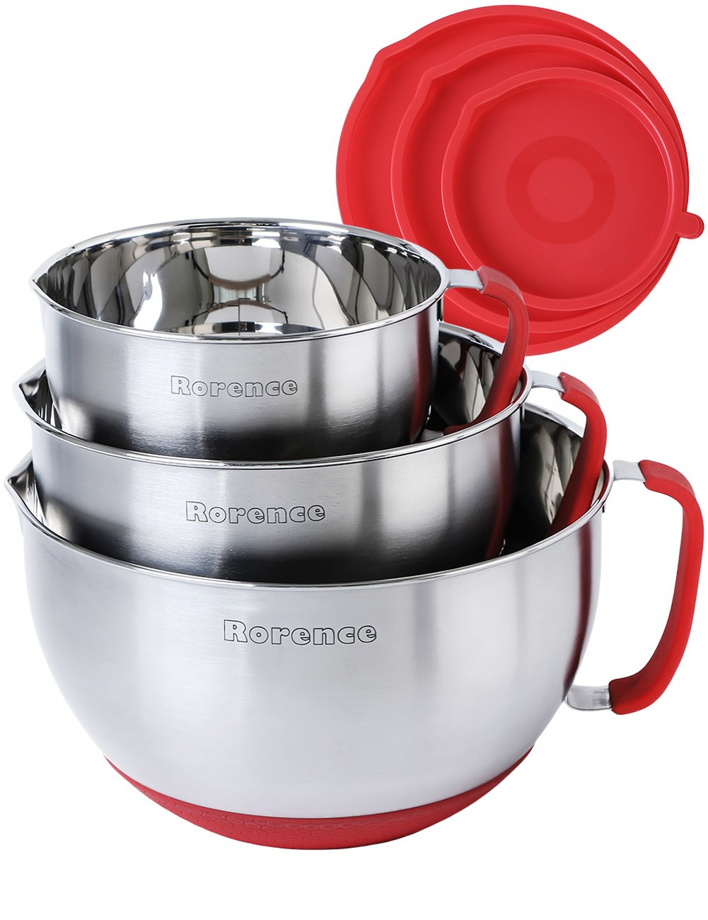 Rorence Stainless Steel Non-Slip Mixing Bowls With Pour Spout, Handle and Lid, Nesting Set of 3, Red