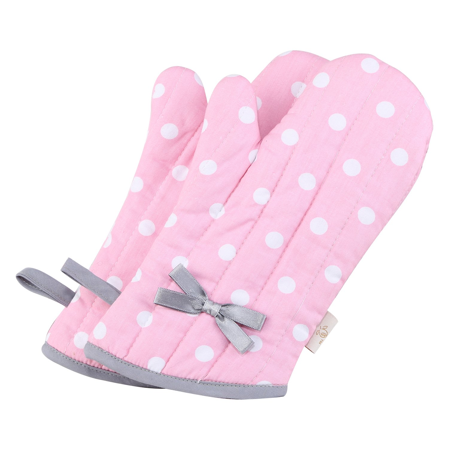 Neoviva Cotton Twill Quilted Oven Mitt for Child, Set of 2, Polka Dots Pink