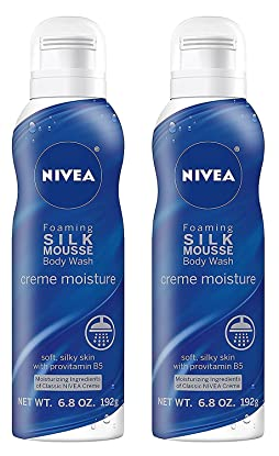 Nivea Foaming Silk Mousse Body Wash - Creme Moisture - Soft, Silky Skin With Provitamin B5 - Net Wt. 6.8 OZ (192 g) Per Can - Pack of 2 Cans