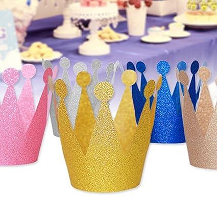 Amazon.com: 12 piezas cumpleaños corona sombrero de fiesta ...