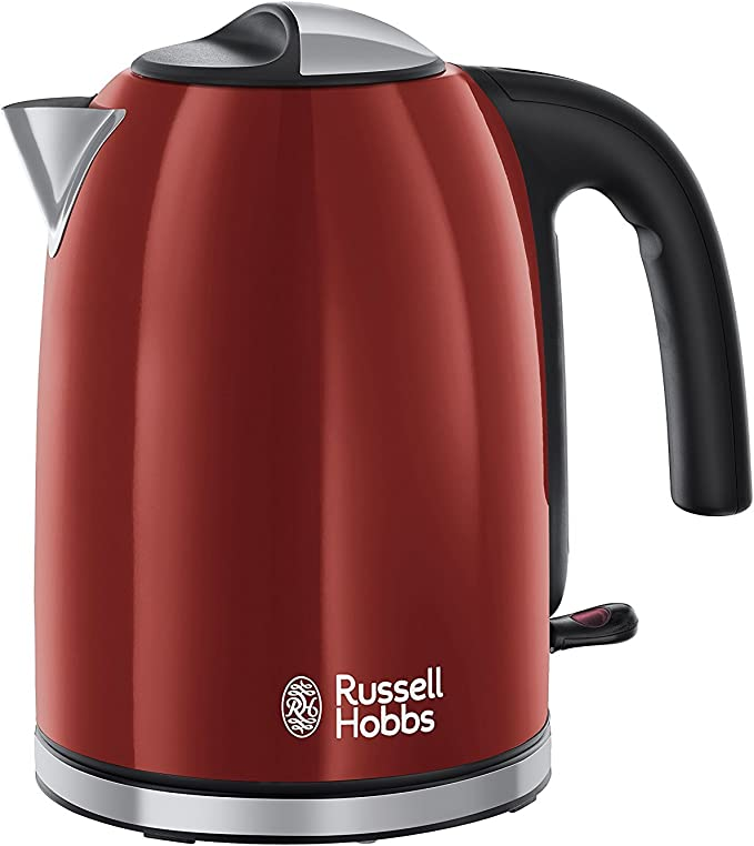 Russell Hobbs Colour Plus Kettle 20412, Stainless Steel, 3000 W, 1.7 Litre, Red